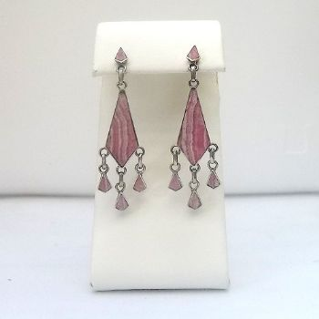 Chilean dangle post earrings with Rhodochrocite
